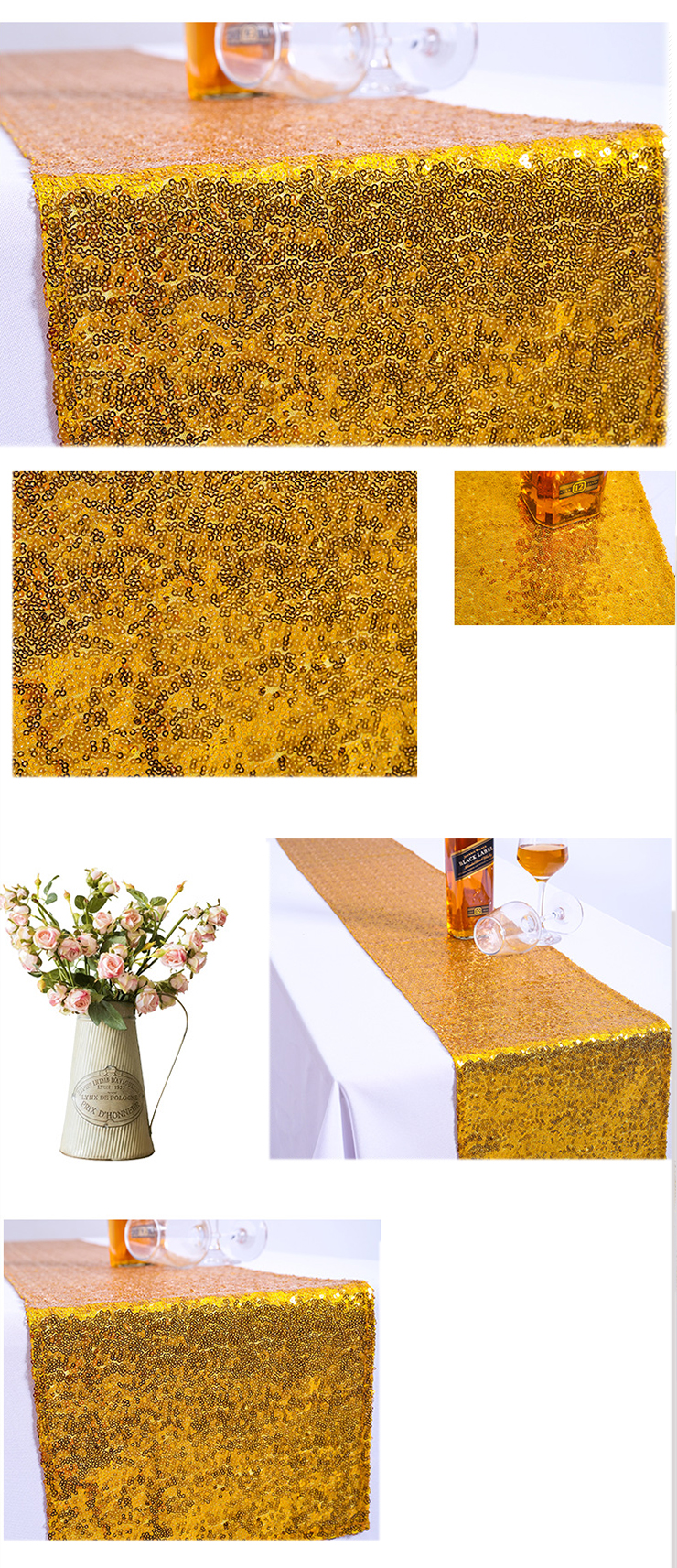 2019 Gold Table Runners Wedding, Wholesale Glitter Sequin Rose Gold Table Runner/