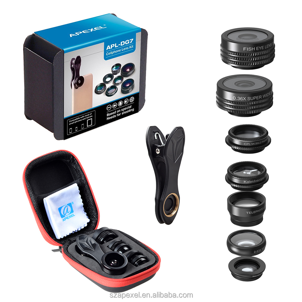 camera connection kit for samsung galaxy tab APEXEL 7in1 lens kit lens set for smartphone