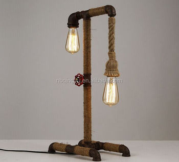 China Supplier Vintage Lighting Water Pipe Table Lamp Hemp Rope Lamp
