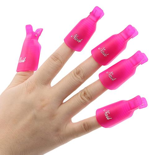 10 Pcs 7 Cores Plástico Acrílico Nail Art Soak Off Clipe