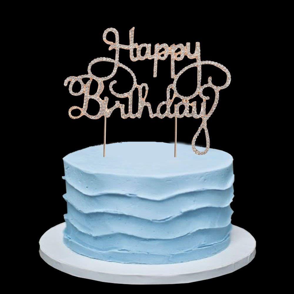 Happy Birthday Rhinestone Cake Topper For 10th 20th 30th 40th 50th
