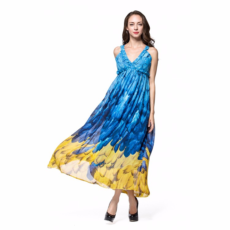 batik long bohemia beach dress cover up