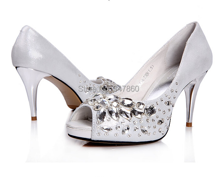 2014 Women's Fashion Bride Dress shoes woman High-end Pure Hand-made Platform High-heels Crystals Wedding Shoes women pumps