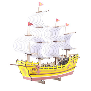 Wooden laser cut silk merchant ship model custom 3d puzzle childrenlearning handmade toys
