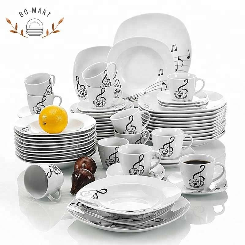 30pcs square shape dinner set with floral Dinnerware Brands For Breakfast