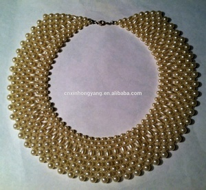 Source factory wholesale beaded collar necklace, pearl beaded fake collar, seed beads detachable neckline