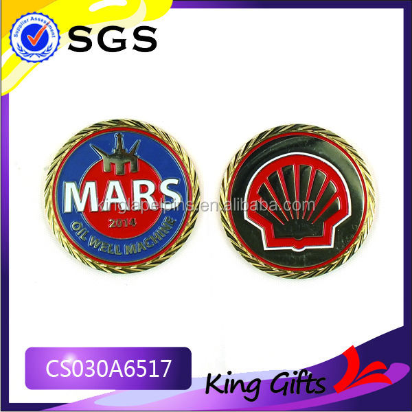 custom metal military cheap custom coin with shell logo produced by China