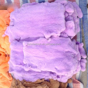Tanned Dyed Purple Real Rex Rabbit Fur Skins for Ladies Winter Coat&Jacket&Vest with Cheap Price