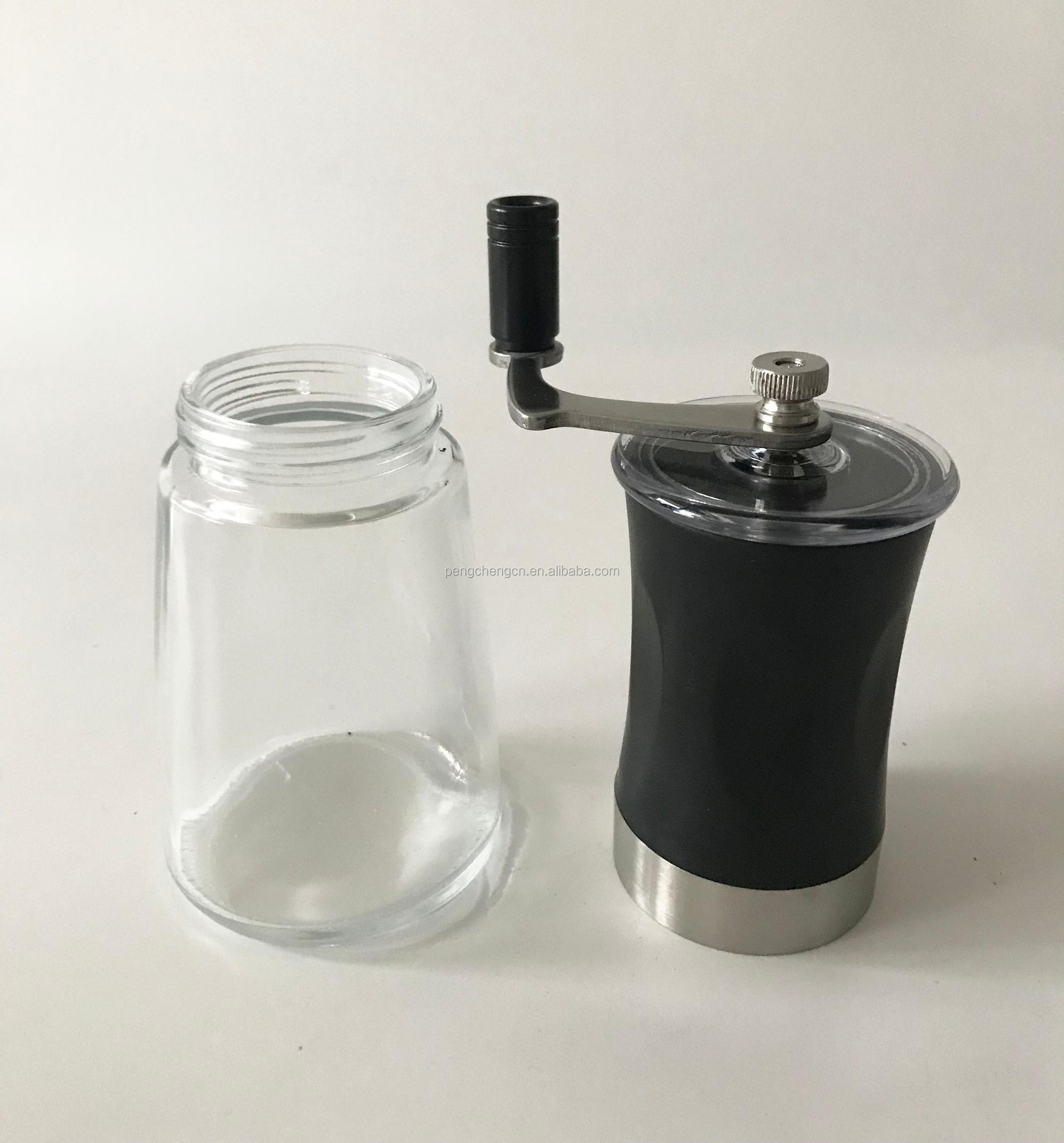hot selling food safe manual coffee grinder with glass bottle