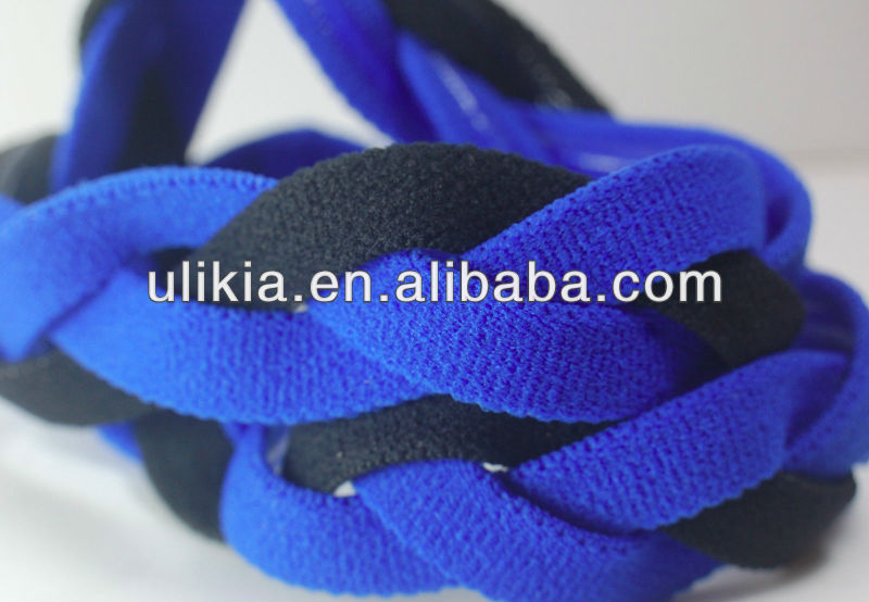 NEW! Royal Blue Black Braided Hair Band Head Running Sports Headband Non Slip