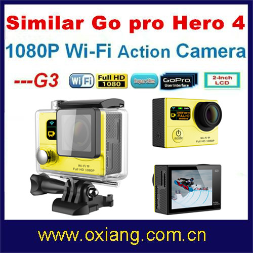 China factory price Similar Go pro 4 1080P long working time waterproof action camera wifi