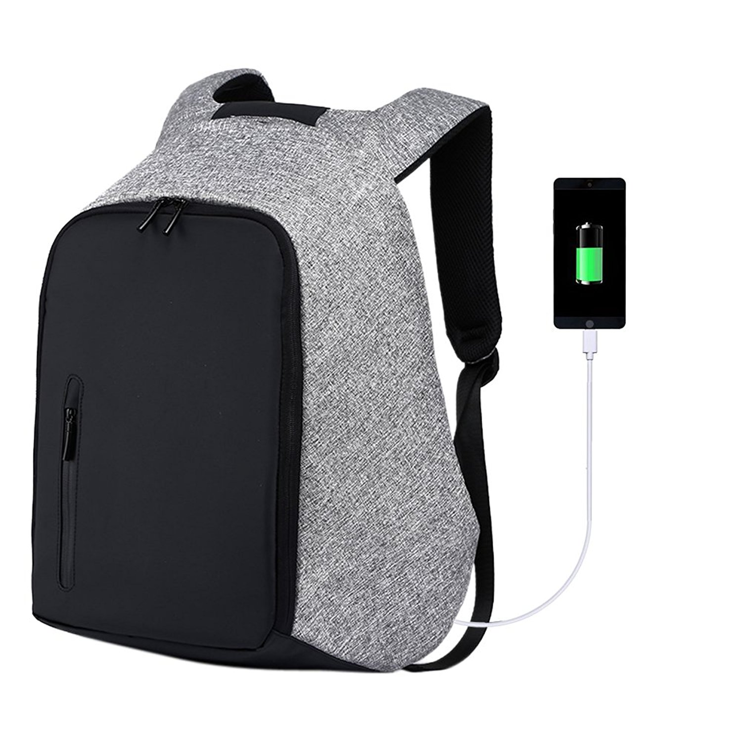 Anti-theft Backpack School Bags College Business Notebook Travel Laptop With USB Charging Port Mens Womens Water Resistant Fits 15.6-Inch Computer Black Black-Grey