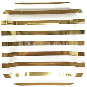 Custom printed disposable gold paper plates for party
