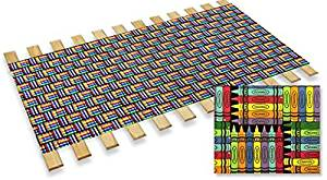 New Twin Size Custom Width Bed Slats with a Crayon Themed Fabric Roll - Choose your needed size - Eliminates the need for a link spring or box spring!