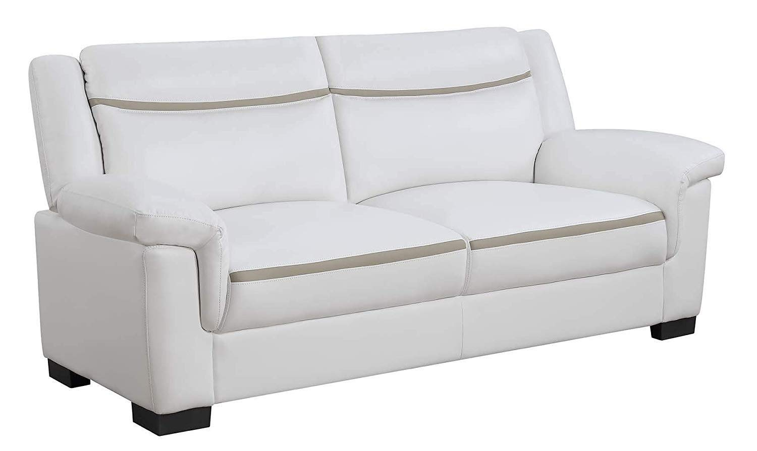 Coaster Home Arabella White Faux Leather Two-Piece Living Room Set White/Casual