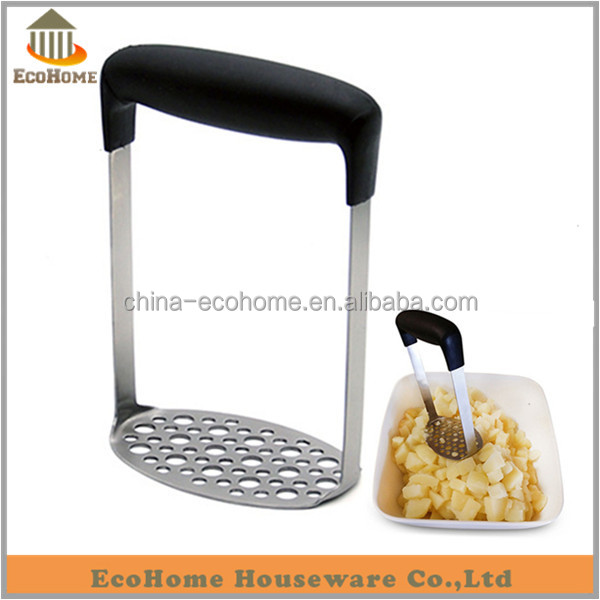 Stainless Steel Potato Masher with Broad and Ergonomic Handle, Mashing Plate for Smooth Mashed Potatoes, Vegetables and fruits