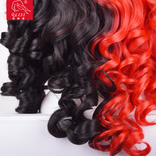 Fashion ladies Black Mix Red Wig Long Wavy Curly Hair Women Cosplay Full Wigs