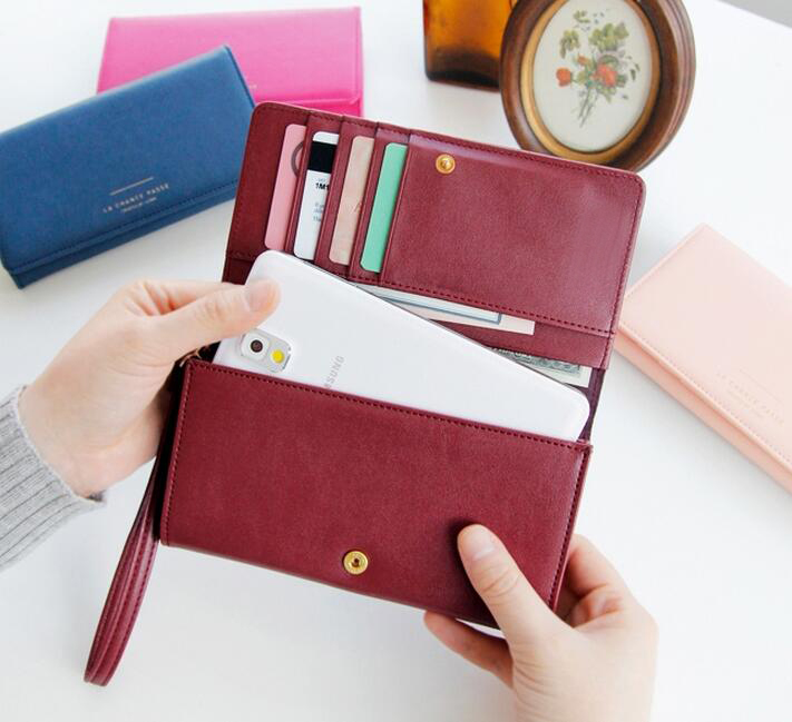 genuine smooth leather or PU leather smart phone wallet with detachable wristlet women purse for Iphone 6/7 plus