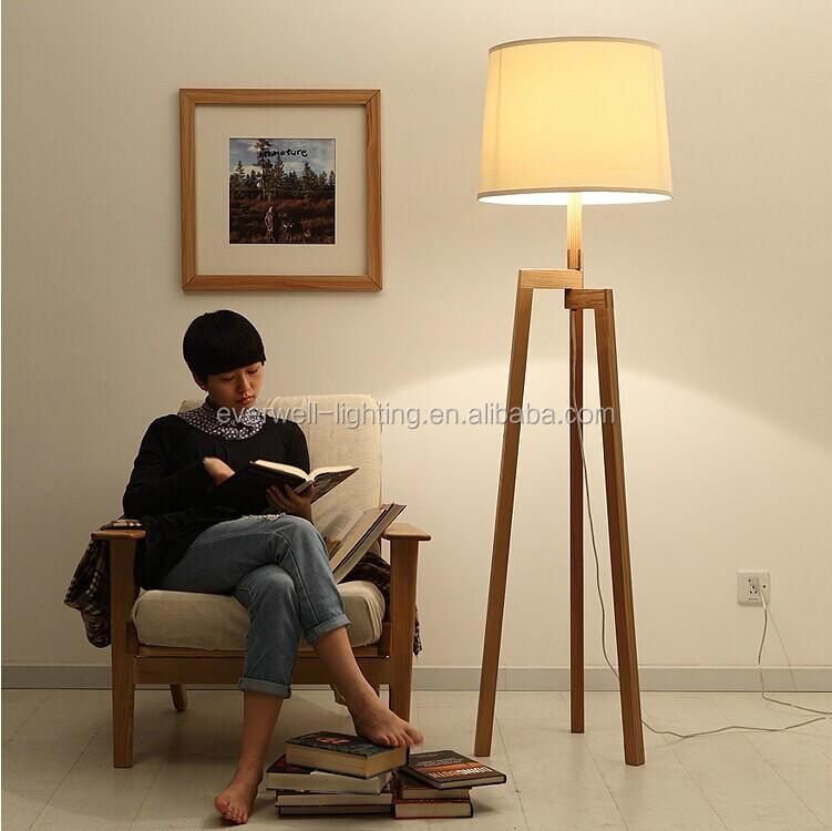 High Quality Fashion Modern Fancy Wood Stand Floor Lamp Tripod 3 Legs