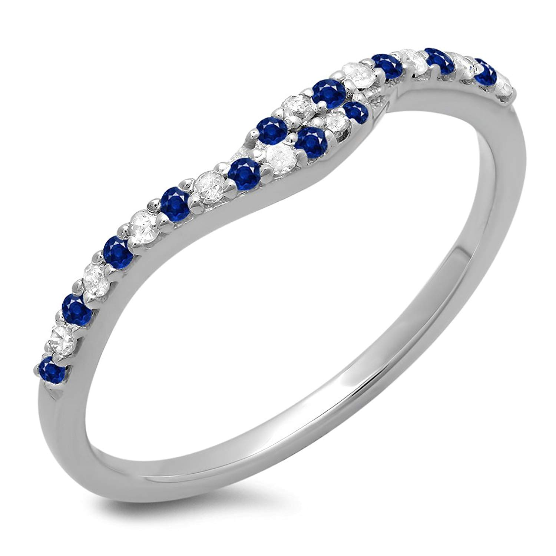 Dazzlingrock Collection 14K White Gold Round Cut Blue Sapphire & White Diamond Ladies Wedding Guard Band (Size 10)