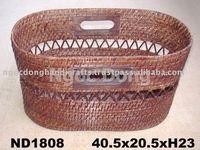 Rectangular bamboo/rattan magazine rack