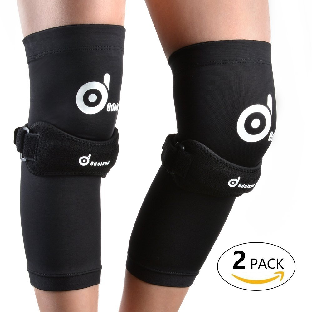 0d8989762f ODOLAND 2 Pack Copper Compression Knee Braces, Knee Sleeves & Knee Patellar  Tendon Support Strap