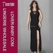 Unique Black Rhinestones Slitted New Arrivals 2015 Long Evening Dresses Evening Long Dress
