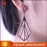 fashion women earrings crystal avenue wholesale jewelry red gemstone silver earring