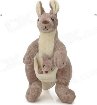 Cute Soft Plush Kangaroo With Baby In Pouch Toy Grey White Buy
