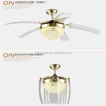 Hidden Ceiling Fan ceiling fan hidden blades transparent crystal 5 blades golden