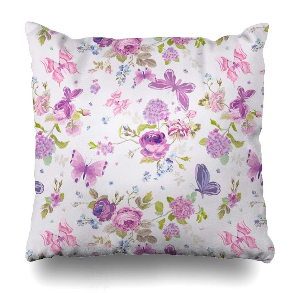 "soopat Decorative Pillow Cover 18""X18"" Two Sides Printed Flower Pink English Rose With Decorative Butterfly Throw Pillow Cases Decorative Home Decor Indoor/Outdoor Nice Gift Kitchen Garden Sofa B"