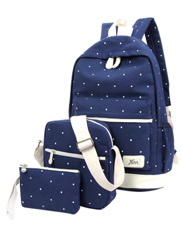 ShiningLove Unisex Preppy Style Polka Dot Canvas Schoolbags 3 Pieces Set, Shoulder Bag+Backpack+Handbag