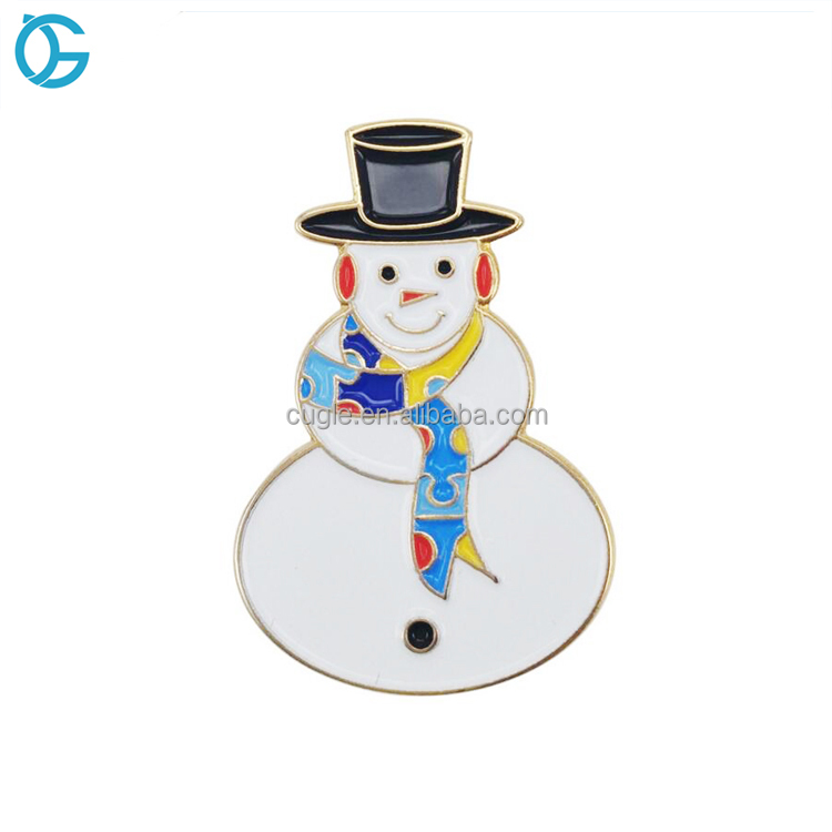 China manufacturer custom metal lapel pin badge christmas snowman gift for kids