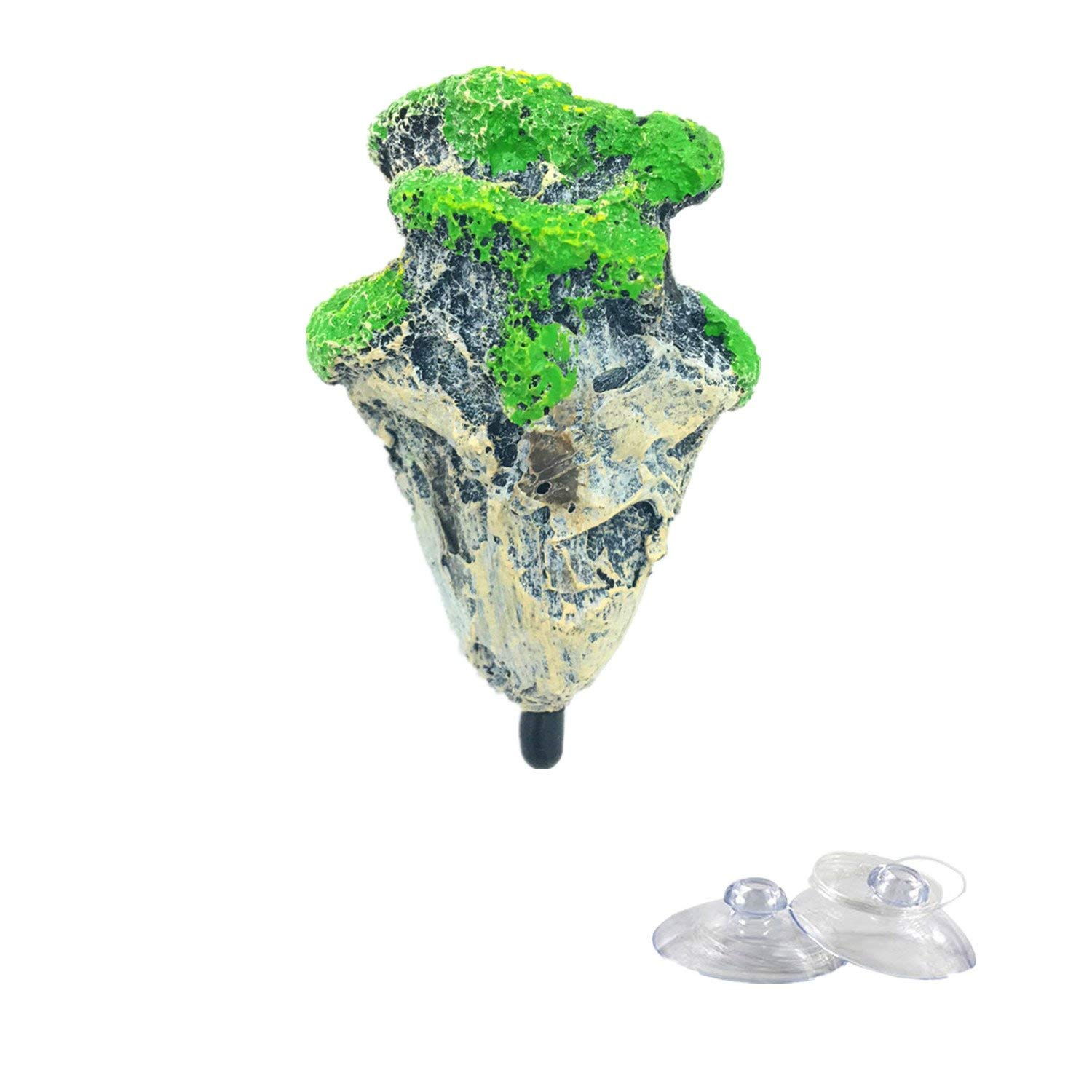 SWET Aquarium Floating Rock Stone, Fish Tank Rock Underwater Floating Decoration with [Stone Texture] [Simulation Moss] [Safe] [Create a Rock Suspension Landscape]