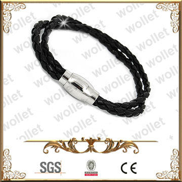 Two Strand Stainless Steel Magnetic Clasps Leather Bracelets