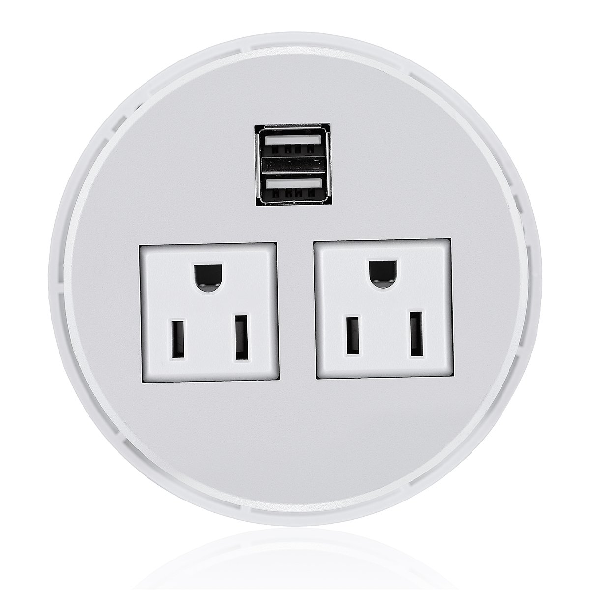 Desktop Power Grommet Hub 2 Power Socket & Dual USB Ports For Office Desk Table Durable Plastic Top (White) with 6 FT Power Cord
