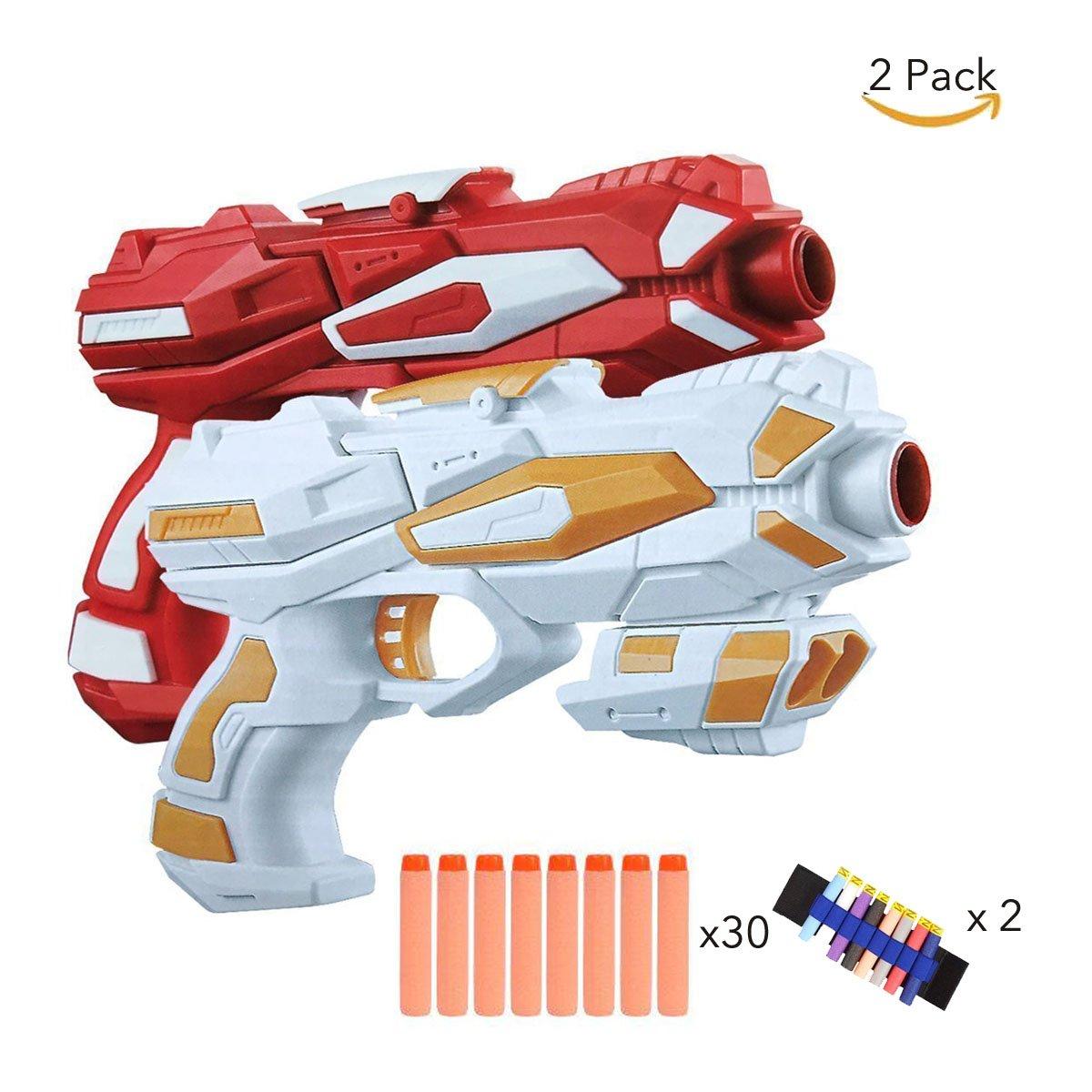 Fstop Labs 2 Pack Nerf Like Blaster Toy Gun with 2 Foam Dart Wrist Band and 30PCS Refill Soft Foam EVA Darts for Kids Hand Gun Blaster Gun Toy