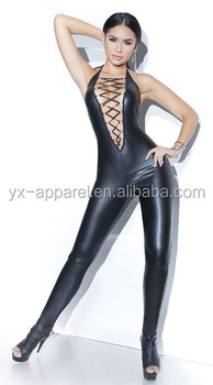 Sexy wet look see through leather bondage full body catsuit bodysuit