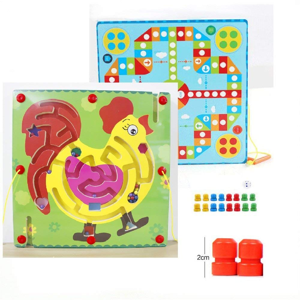 GoodPlay Magnetic Maze Puzzle Game Toys,Wooden Bead Maze 2- in-1 Double Sided Wooden Marbles Magnet Pen/Wand Driving Labyrinth and Flying Chess for Kid Children - Rooster