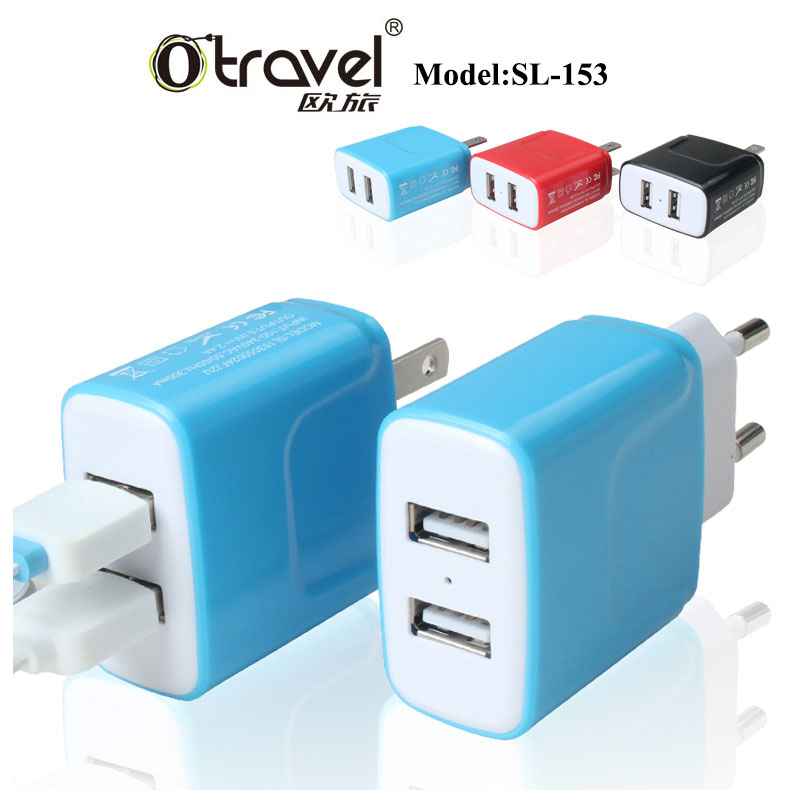Universal Smart Travel Charger Dual port usb wall charger Station US EU Plug
