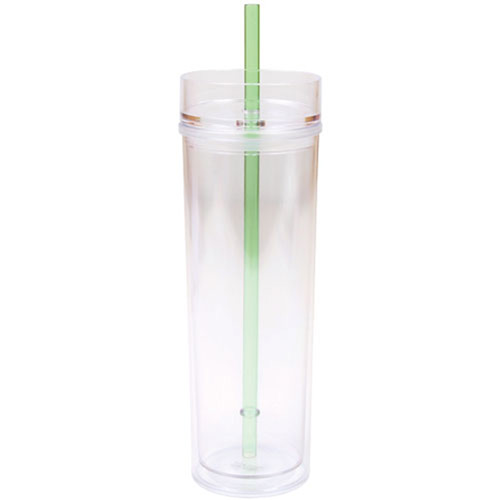 Wholesale 16oz Clear Acrylic Skinny Tumbler With Lid And Straw
