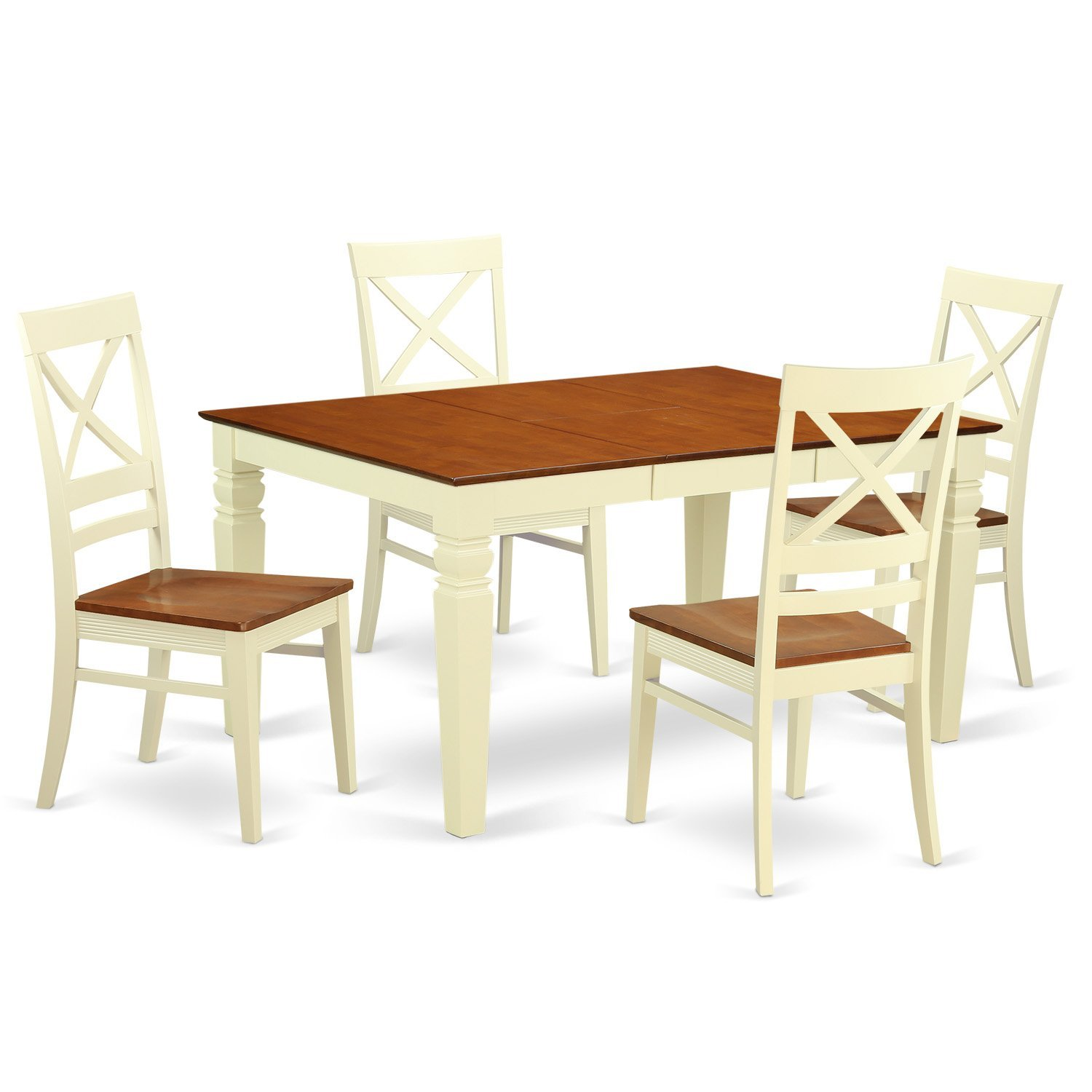 East West Furniture Weston WEQU5-BMK-W 5 Pc Kitchen Set with a Dinning Table and 4 Wood Dining Chairs, Buttermilk and Cherry