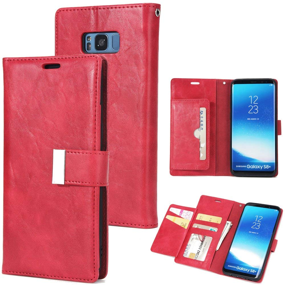 Scheam for Samsung Galaxy S8 Plus Case, [Extra Card Slot] [Wallet Case] PU Leather TPU Casing Girls [Drop Protection] Case Compatible with Samsung Galaxy S8 Plus, Red