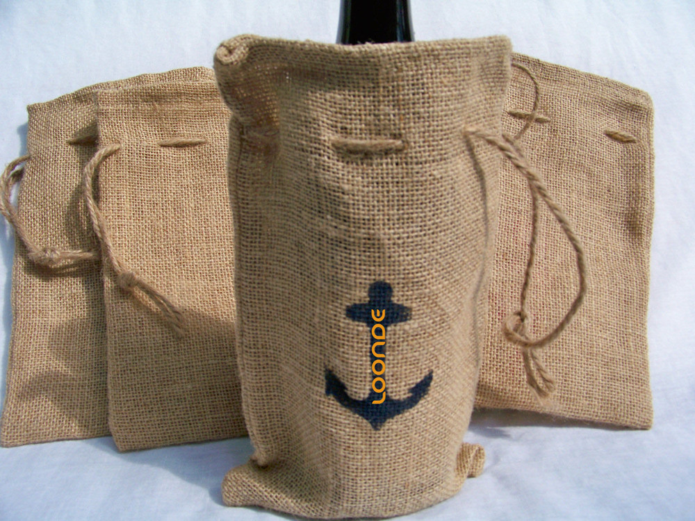5x19 cm wholesale Burlap Wine Bag with Stenciled Anchor