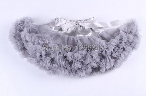 Silver Grey Chiffon Tutu Skirt Ruffle Baby Girls Skirts Petti With Satin Bow