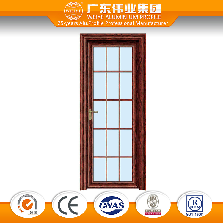 Thermal-break wood grain grill design aluminum casement door