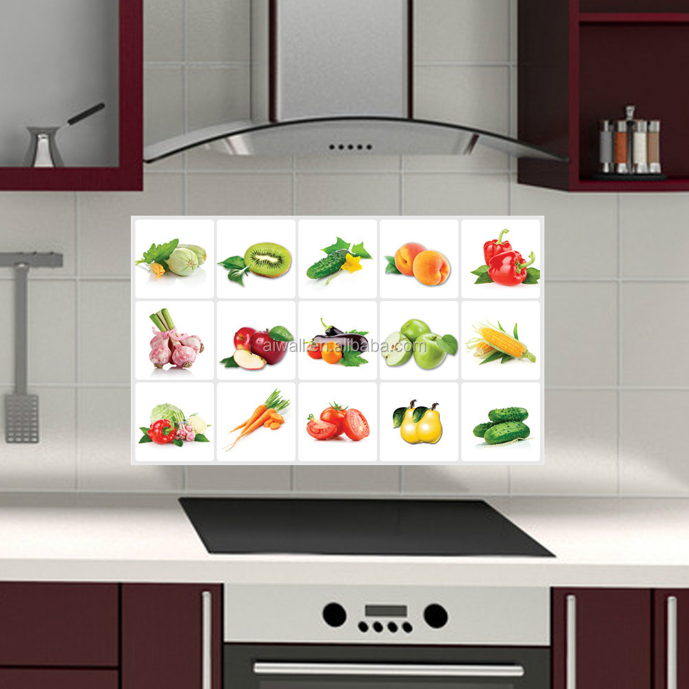 3019 removable fruit vegetables pattern anti oil wall - Pegatinas para cocinas ...