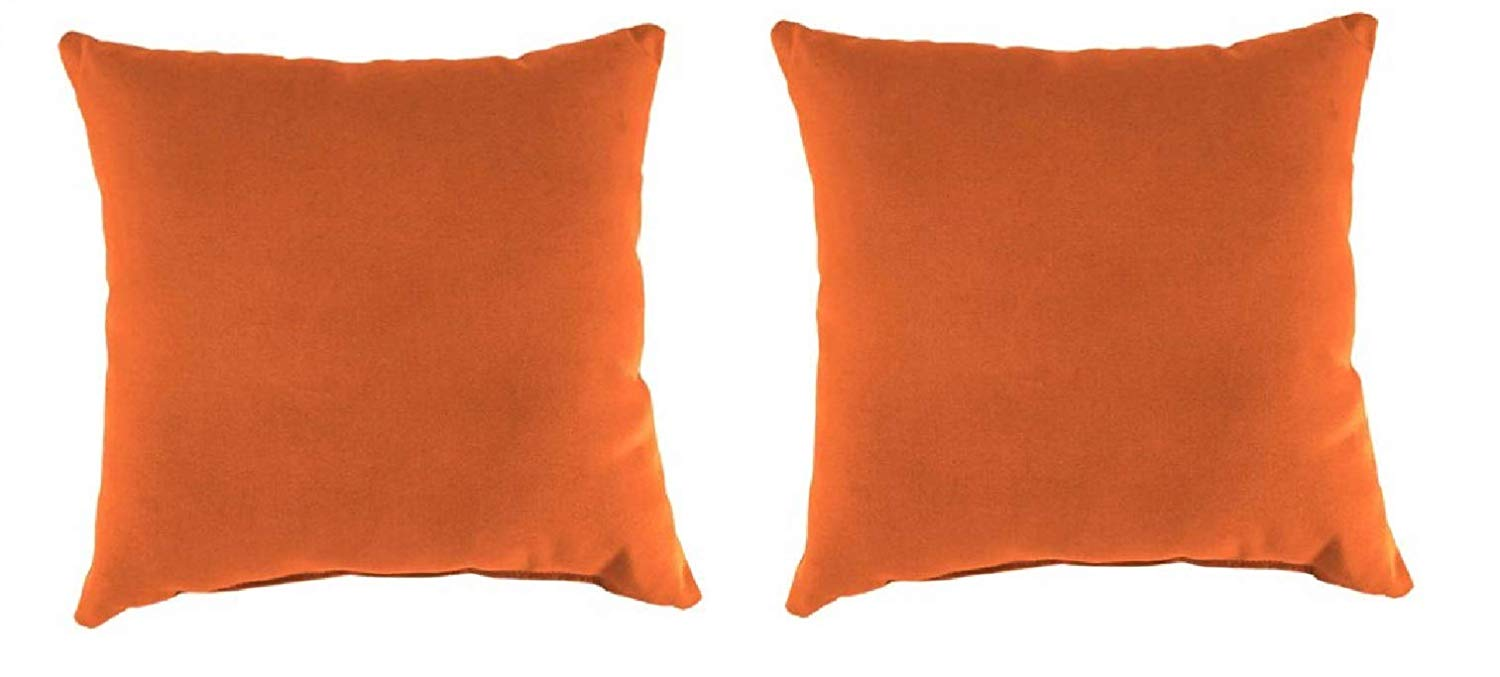 """Set of 2-16"""" Toss Pillow Indoor/Outdoor Patio in Fresco Mandarin - Non-Allergenic Polyester Fiberfill, Resists Fading, Mold and Mildew"""