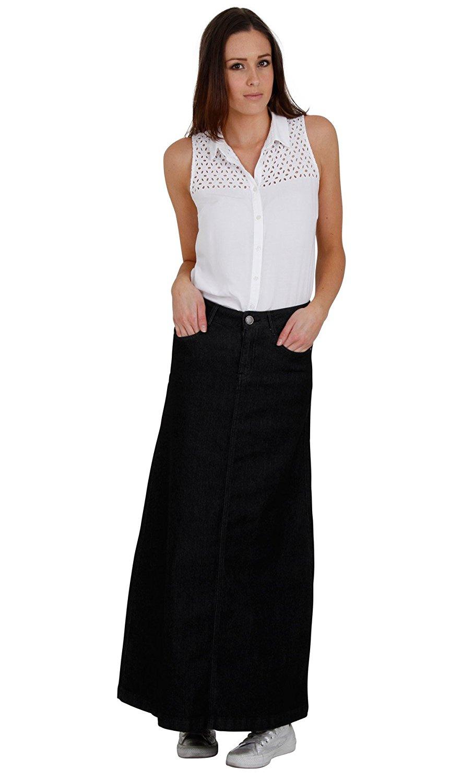5b2bafe131 Cindy H Denim Long Skirt - Black SKIRT59 Womens Maxi Skirt Full Length  Denim Skirt