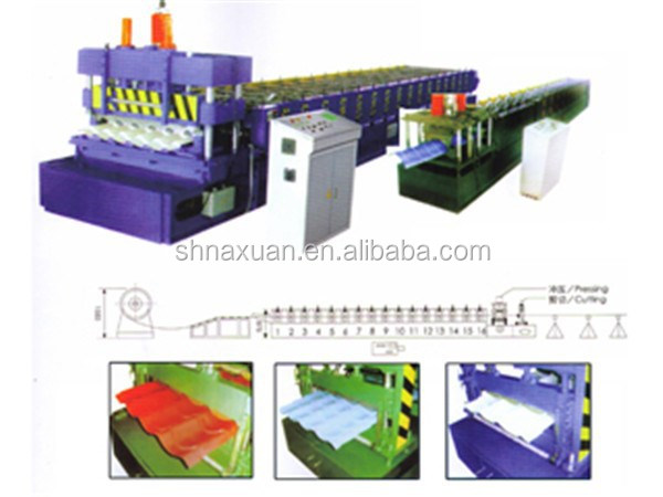 China Roof And Wall Use Colored Glazed Steel Tile Type Roll Forming Machine